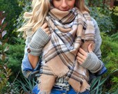 Creamy Beige, OVERSIZED SQUARE Plaid Blanket Scarf, Winter scarf, Blanket scarf women, Plaid Scarf, Tartan scarf, Oversized Scarf