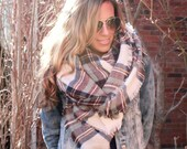 Heather Skies, OVERSIZED SQUARE Plaid Blanket Scarf, Winter scarf, Blanket Scarf women, Bridesmaid Scarf, best selling items, gift for her