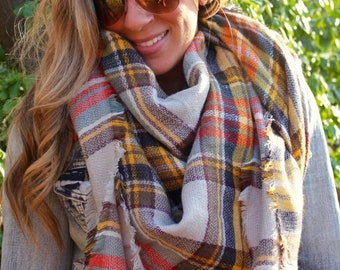 Wedding shawl, Pumpernickle, fringed scarf, tartan scarf, OVERSIZED SQUARE Plaid Blanket Scarf Winter scarf, Blanket scarf, Bridesmaid Scarf