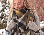 Olive, OVERSIZED SQUARE Plaid Blanket Scarf, Winter scarf, Blanket scarf, Plaid Scarf, Bridesmaid Scarf, winter scarf, women 39 s scarf