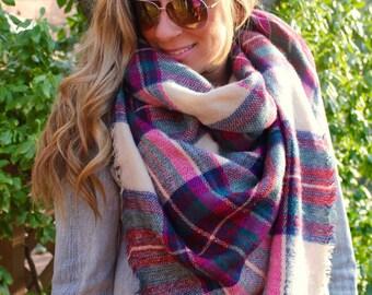 Raspberry Jam SQUARE Plaid Blanket Scarf, tartan scarf, wedding shawl, Blanket scarf, Plaid Scarf, Bridesmaid Scarf, best selling item