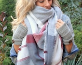 Candy Cane, OVERSIZED SQUARE Plaid Blanket Scarf, Winter scarf, Blanket scarf, Plaid Scarf, Bridesmaid Scarf, winter wedding