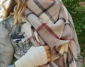 OVERSIZED SQUARE Plaid Blanket Scarf, COFFEE, Winter scarf, Blanket Scarf women, Bridesmaid Scarf, best selling items, gift for her