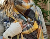 OVERSIZED SQUARE Plaid Blanket Scarf, MARIGOLD, Winter scarf, Blanket Scarf women, Bridesmaid Scarf, best selling items, gift for her