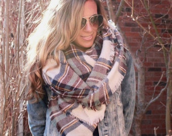 OVERSIZED SQUARE Plaid Blanket Scarf, best selling scarf, Heather Skies, Bridesmaid Gift, Plaid Scarf, Knit Scarf, best selling items