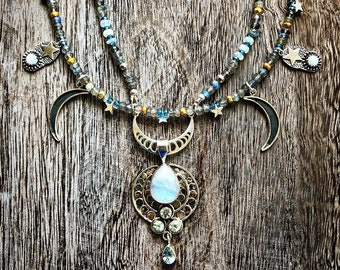 Moon Goddess Opalescent Moonstone, Blue Topaz, Opal, Labradorite, Sterling Stars ans Moon Necklace