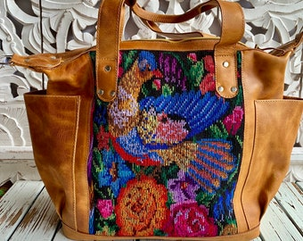 Go Gold and Give American Childhood Cancer Organization Donation Bird Of Bohemian Paradise Leather Panel and Pocket Large CDB