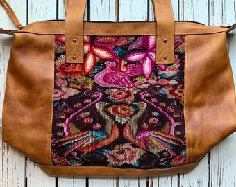 Cupid's Peacocks in the Rose Garden Chichi Huipil Weekender Bag with Natural Tan Leather