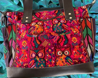 Magenta Owls with Black Leather Medium Convertible Day Bag with leather shoulder strap and backpack straps
