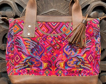 Raspberry Lovebirds Chichi Huipil Brown Leather Lola bag with shoulder strap