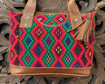 Ombre Diamonds Chichi Huipil Brown Leather Lola bag with shoulder strap