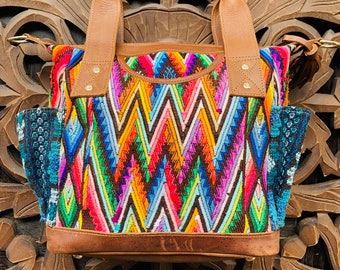 Rainbow Mountains Brown Leather MINI Convertible Day Bag with leather shoulder strap and backpack straps