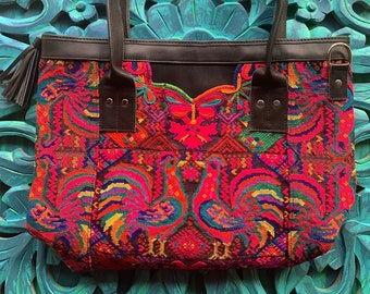 Rainbow Rooster Huipil Crossbody Leather Tote Bag with Black Leather