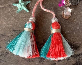 Metallic Coral Sea Ombré Double Tassel