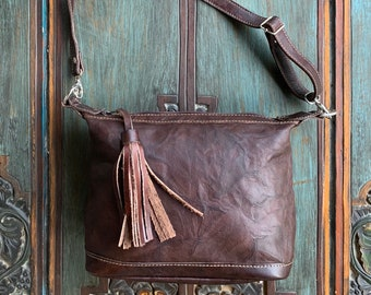 Dark Brown Leather Mini Comet Crossover bag with shoulder strap