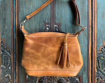 Tan Leather Comet Crossover bag with shoulder strap