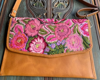 Pink Palace Embroidered Huipil Natural Tan Leather Crossover Clutch with Shoulder Strap