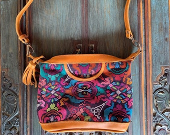 Bohemian Funky Flower Mini Comet Crossover bag with full huipil and shoulder strap