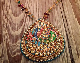 Folkloric Hand Painted Peacock Teardrop with Semiprecious Gemstone Fringe and Pearl Chain Necklace