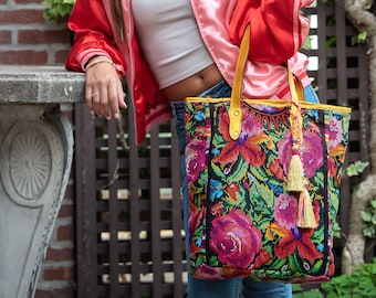 Plunder Orchids & Roses Tote in Pirate's Treasure Gold Leather