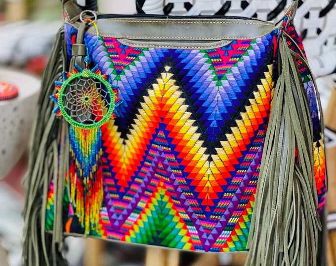 Featured listing image: Retro Neon Feather Chevron Fringe Hobo with Green Leather