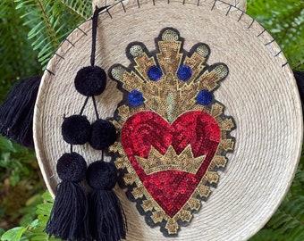 Sacred Heart Straw Round Banjo Bag