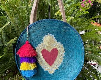 Fiery Heart Emblem Round Banjo Bag