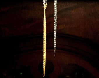 Light and Dark White Topaz Pave Double Spike Lariat Style Necklace in Two Tone Sterling Silver and Gold Vermeil