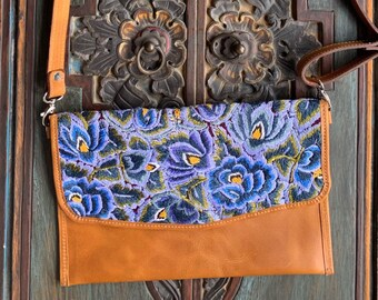 Clean Skies over the Garden Embroidered Huipil Natural Tan Leather Crossover Clutch with Shoulder Strap