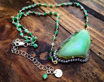 Scottish Isle Green Agate and Pave CZ Chrysophrase Necklace
