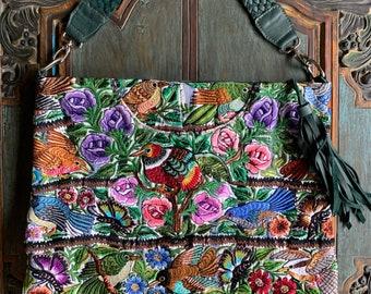 Garden of Eden Ideal Hobo Starlight Bag with Green Leather