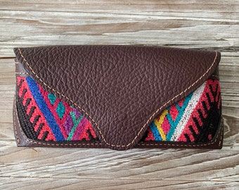 Mayan Volcano Chichi Huipil Dark Brown Pebbled Leather Sunglass Eyeglass Case