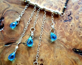 Mermaid's Tears Sterling Silver and Blue Topaz Briolette Necklace