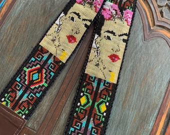 Beaded Iron Lattice Frida Kahlo Inspired Camera or Bag Nomad Strap with Dark Brown Leather
