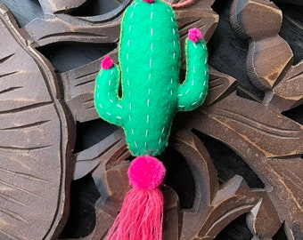 Pink Cactus with Flowers Embroidered Pom and Tassel Bag Charm