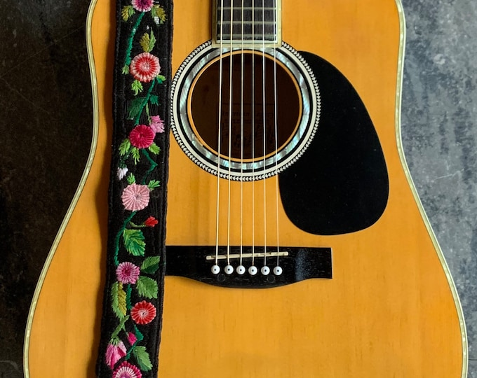 Featured listing image: Rose Bud Adjustable Black Leather Guitar Strap