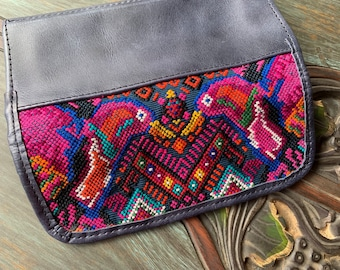 Kissing Hummingbirds Huipil Navy Leather Wallet