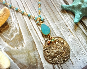 Sea Turtle and Starfish Mermaid's Treasure Turquoise Necklace in Bronze and Gold Vermeil