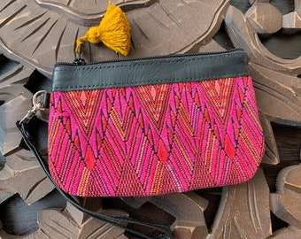 Mini Festival Clutch Coral, Red and Pink with Black Leather and Wristlet Strap