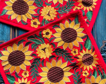 """Pair 18"""" Embroidered Red Sunflower Decorative Pillow Covers"""