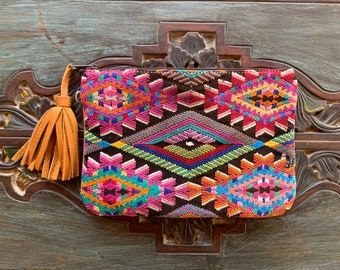 Feminine Power Huipil Opening Act 3-in-1 Medium Festival Bag with Tan Leather and Wristlet Strap and Crossbody Strap