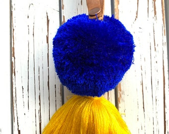 French Riviera Leather Loop Luxury Full Moon Pom Tassel