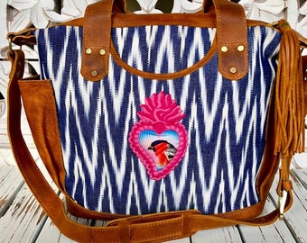 Sweet Bird Sacred Heart Pink and Indigo Chevron Jaspe Luxury Natural Tan Leather crossover bag with leather shoulder strap