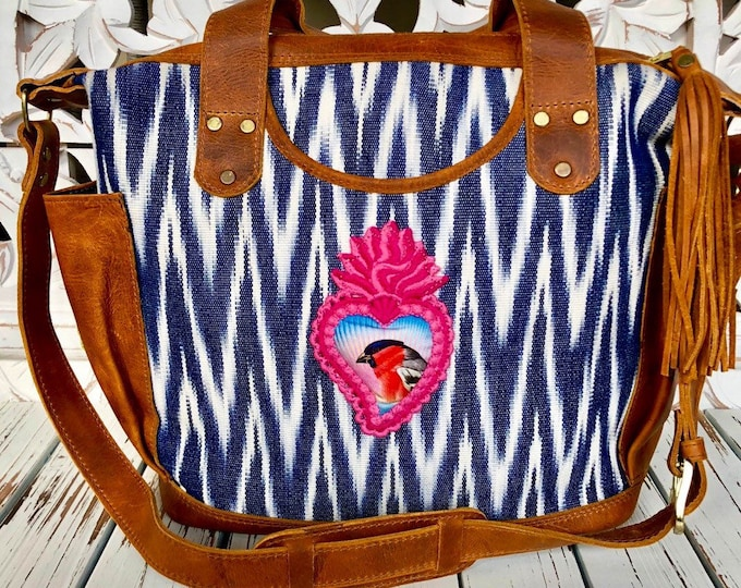Featured listing image: SALE Sweet Bird Sacred Heart Pink and Indigo Chevron Jaspe Luxury Natural Tan Leather crossover bag with leather shoulder strap