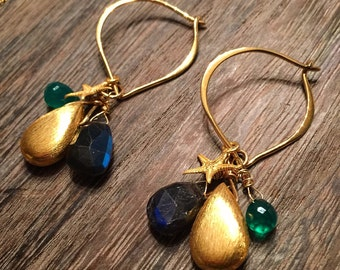 Ocean Spray Gold Vermeil Teardrop Earrings on Lotus Petal Hoops with Starfish, Emerald Jade and Blue Labradorite