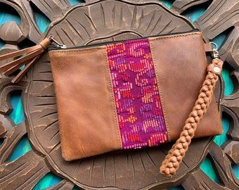 Wonder Wild Child Clutch with Weathered Brown Leather and Braided Wristlet Strap