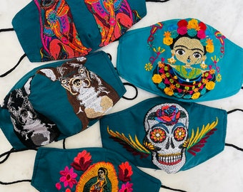 5 Piece Teal Jewel Tone Embroidered Huipil Masks