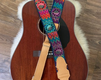 Miss Daisy Adjustable Copper Leather Guitar Strap