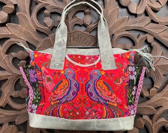 Neon Coral Double Birds Chichicastenango Huipil Marbled Grey Leather Small Convertible Day Bag with leather straps