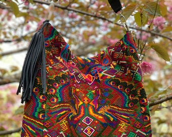 Haight and Ashbury Peacocks Ideal Hobo Starlight Bag with Black Leather